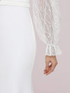 Long Lace Lantern Sleeves Simple Mermaid Wedding Dress-Cream 8