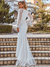 Long Lace Lantern Sleeves Simple Mermaid Wedding Dress-Cream 3