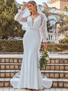 Long Lace Lantern Sleeves Simple Mermaid Wedding Dress-Cream 1