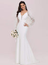 Long Lace Lantern Sleeves Simple Mermaid Wedding Dress-Cream 4