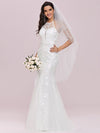 Women'S Halter Maxi Lace & Tulle Mermaid Wedding Dress-Cream 1
