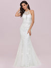 Women'S Halter Maxi Lace & Tulle Mermaid Wedding Dress-Cream 4
