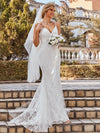 Minimalist Fishtail Deep V Neck Lace Wedding Dress-Cream 1