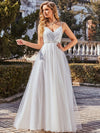 Shimmering V-Neck Floor-Length A-Line Wedding Gown-Cream 2