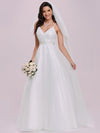 Shimmering V-Neck Floor-Length A-Line Wedding Gown-Cream 4