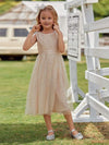 Sweet Round Neck Sleeveless Tulle & Sequin Flower Girl Dress With Ruched Belt-Blush 3