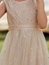 Sweet Round Neck Sleeveless Tulle & Sequin Flower Girl Dress With Ruched Belt-Blush 5