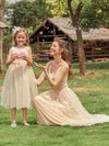 Sweet Round Neck Sleeveless Tulle & Sequin Flower Girl Dress With Ruched Belt-Blush 6