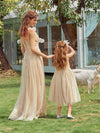 Sweet Round Neck Sleeveless Tulle & Sequin Flower Girl Dress With Ruched Belt-Blush 7
