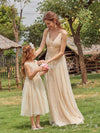 Sweet Round Neck Sleeveless Tulle & Sequin Flower Girl Dress With Ruched Belt-Blush 9