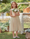 Sweet Round Neck Sleeveless Tulle & Sequin Flower Girl Dress With Ruched Belt-Blush 1