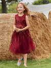 Gorgeous Long Tulle Flower Girl Dress With Sequin Decorations-Burgundy 3
