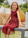 Gorgeous Long Tulle Flower Girl Dress With Sequin Decorations-Burgundy 4