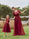 Gorgeous Long Tulle Flower Girl Dress With Sequin Decorations-Burgundy 6