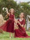 Gorgeous Long Tulle Flower Girl Dress With Sequin Decorations-Burgundy 7