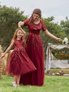 Gorgeous Long Tulle Flower Girl Dress With Sequin Decorations-Burgundy 8