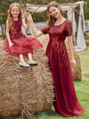 Gorgeous Long Tulle Flower Girl Dress With Sequin Decorations-Burgundy 9