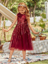 Gorgeous Long Tulle Flower Girl Dress With Sequin Decorations-Burgundy 1
