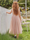 Fancy Long A-Line Tulle Flower Girl Dress With Appliques-Blush 2