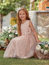 Fancy Long A-Line Tulle Flower Girl Dress With Appliques-Blush 4