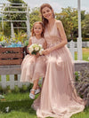 Fancy Long A-Line Tulle Flower Girl Dress With Appliques-Blush 6
