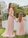 Fancy Long A-Line Tulle Flower Girl Dress With Appliques-Blush 7