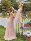 Fancy Long A-Line Tulle Flower Girl Dress With Appliques-Blush 8