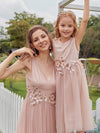 Fancy Long A-Line Tulle Flower Girl Dress With Appliques-Blush 9