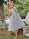 Lovely A-Line Tulle Floral Appliqued Flower Girl Dress For Wedding-Grey 4