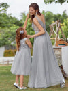 Lovely A-Line Tulle Floral Appliqued Flower Girl Dress For Wedding-Grey 7