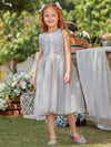 Lovely A-Line Tulle Floral Appliqued Flower Girl Dress For Wedding-Grey 2