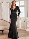 Bodycon Sweetheart Neckline Fishtail Evening Dress With Long Sleeves-Black 3