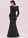 Bodycon Sweetheart Neckline Fishtail Evening Dress With Long Sleeves-Black 5