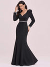 Bodycon Sweetheart Neckline Fishtail Evening Dress With Long Sleeves-Black 6