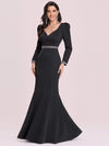Bodycon Sweetheart Neckline Fishtail Evening Dress With Long Sleeves-Black 7