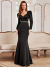 Bodycon Sweetheart Neckline Fishtail Evening Dress With Long Sleeves-Black 1