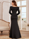Bodycon Sweetheart Neckline Fishtail Evening Dress With Long Sleeves-Black 2