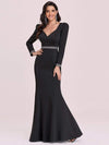 Bodycon Sweetheart Neckline Fishtail Evening Dress With Long Sleeves-Black 4