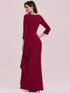 Elegant Ruffled Asymmetric Pleated Waist Mother Of The Bride Dress-Burgundy 4