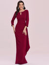 Elegant Ruffled Asymmetric Pleated Waist Mother Of The Bride Dress-Burgundy 3