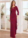 Elegant Ruffled Asymmetric Pleated Waist Mother Of The Bride Dress-Burgundy 1