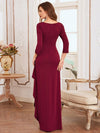 Elegant Ruffled Asymmetric Pleated Waist Mother Of The Bride Dress-Burgundy 2