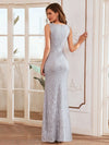 Elegant Sleeveless Round-Neck Split Lace Maxi Mother Of Bride Dress-Grey 2