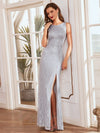 Elegant Sleeveless Round-Neck Split Lace Maxi Mother Of Bride Dress-Grey 3