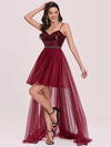 Fancy A-Line Tulle High Low Hem Prom Dress-Burgundy 6