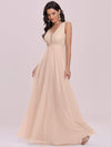 Comfy Deep V Neck A-Line Tulle Prom Dress For Women-Blush 5