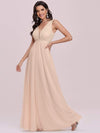 Comfy Deep V Neck A-Line Tulle Prom Dress For Women-Blush 6