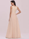 Comfy Deep V Neck A-Line Tulle Prom Dress For Women-Blush 7