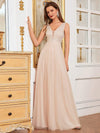 Comfy Deep V Neck A-Line Tulle Prom Dress For Women-Blush 1