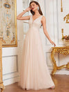 Comfy Deep V Neck A-Line Tulle Prom Dress For Women-Blush 3